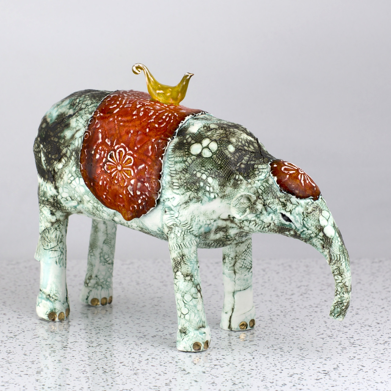 Porcelain Elephant with Bird